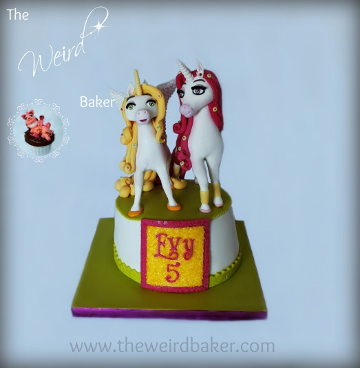 """Mia & Me"" themed birthday cake with fondant Onchao and Lyria"